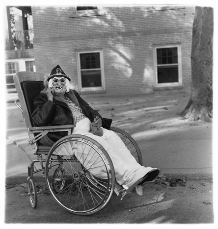 Diane Arbus, Masked woman in a wheelchair, Pa. 1970, , David Zwirner