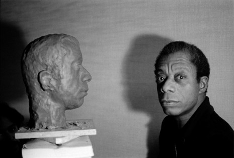 Jane Evelyn Atwood, James Baldwin with the bust of his head by American artist, Lawrence Wolhandler in his hotel room, rue des Grands Augustins, Paris, France, 1975, David Zwirner