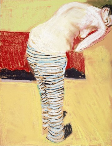 Chantal Joffe, Self-Portrait in Striped Trousers, 2015, Galleri Bo Bjerggaard