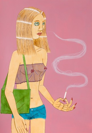 Ed Templeton, Untitled, (Smoking woman, sheer top), 2018 , Tim Van Laere Gallery