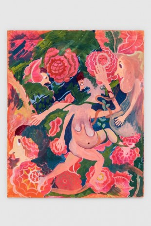 Christina Forrer, Woman on Pink Floral Background, 2018, Luhring Augustine