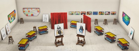 David Hockney, Seven Trollies, Six and a Half Stools, Six Portraits, Eleven Paintings, and Two Curtains, 2018 , Galerie Lelong & Co.