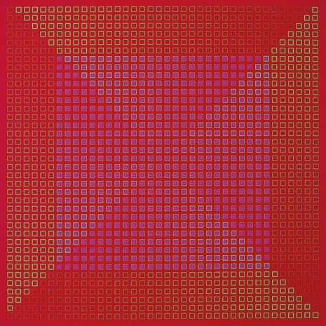 Julian Stańczak, Centred Duality - Red, 1981-82, The Mayor Gallery