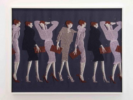 Tobias Kaspar, Line of Women with Purses (violet, purple, brown), 2019 , Galerie Peter Kilchmann