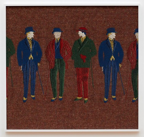 Tobias Kaspar, Group of Standing Gentlemen (blue, red, green), 2018 , Galerie Peter Kilchmann
