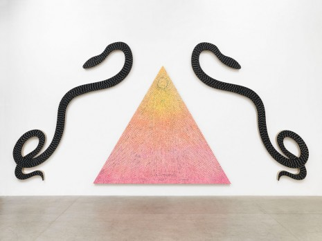 Jennifer Guidi, Guardians of Light (Triptych: Painted Universe Mandala Triangle SF #2T, Yellow to Pink Gradient, Natural Ground; White #2PT, Black Sand SF #1S, Black Ground; White #3PT, Black Sand SF #2S, Black Ground), 2019, Massimo De Carlo