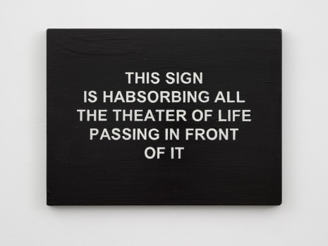 Laure Prouvost, THIS SIGN IS HABSORBING ALL THE THEATER OF LIFE PASSING IN FRONT OF IT, 2017 , Lisson Gallery