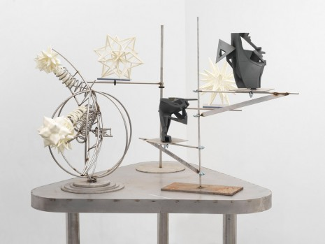 Frank Stella, Triangle Sculpture Table (Spherical Trophy, Wire Star, Truss Star, Fragment 01, Fragment 02), 2019 , Marianne Boesky Gallery