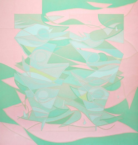Margaux Ogden, Curtains II (Pink and Green), 2018
