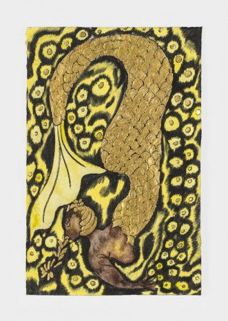 Chris Ofili, Nymph Dive (Yellow), 2019 , David Zwirner