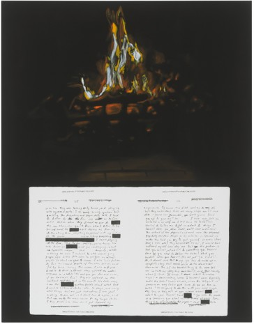 Frances Stark, Reading Mohamedou Ould Slahi's Guantamo Diary on the laptop by the fire not long before he was finally released after 17 years, 2019 , Galerie Buchholz