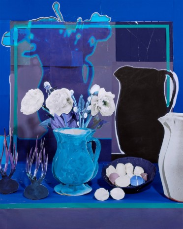 Daniel Gordon, Blue Still Life with White Peonies, Eggs and Onions, 2019, Simon Lee Gallery
