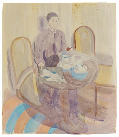 Otto Meyer-Amden, Man at table, holding a pipe and drawing, 1918-1925 , Galerie Buchholz