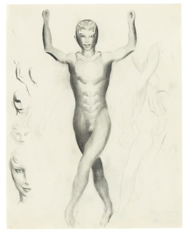 Otto Meyer-Amden, Nude boy and studies of heads, ca. 1915-1917 , Galerie Buchholz