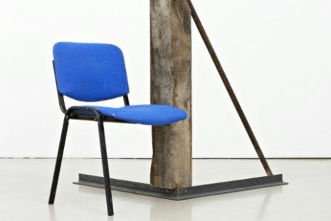 Oscar Tuazon, Steel, pressure-treated wood, oak post, office, chair, induction, stovetop, aluminium, 2011  , STANDARD (OSLO)